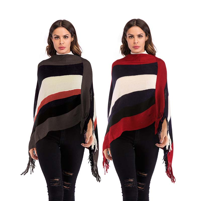 WHZHM Winter Striped Loose Sweater Cape Women Full Sleeve Spring Warm Pullovers Feminina Jumper Loose Patchwork