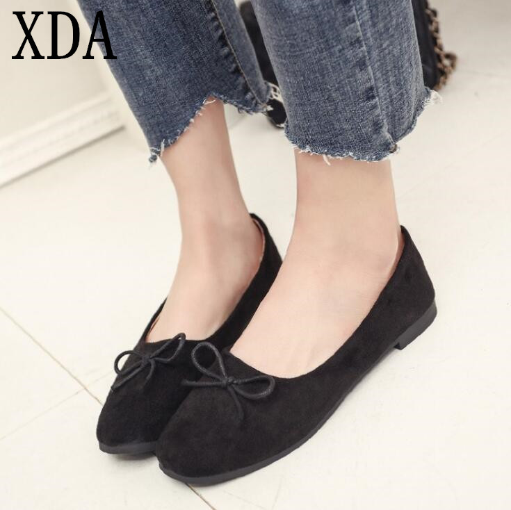 XDA 2019 Fashion Women Flat Shoes Square Head   Suede   Comfortable bowknot Single Shoes ballet loafers Shoes Size 35-39