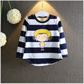 girl T-shirts new all-match cute girls striped long sleeved T-shirt all-match tops