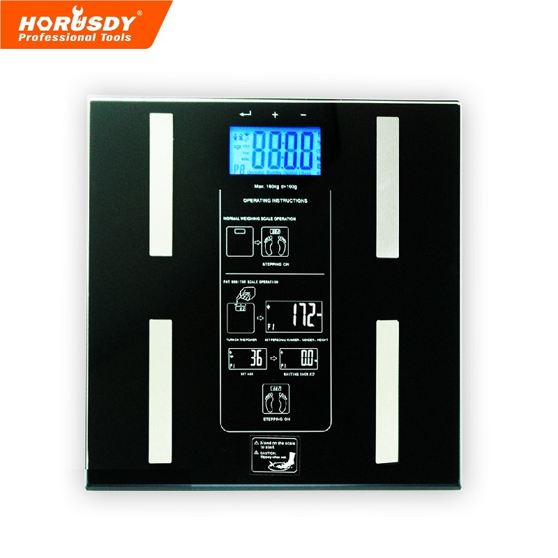 HORUSDY 396lbs Digital Body Fat Scale, Measures Fat, Water, Muscle, Bone, Calorie & BMI LCD Display, Units Selection (Kg/St/Lb) y9000 smart body fat scale digital bathroom scale