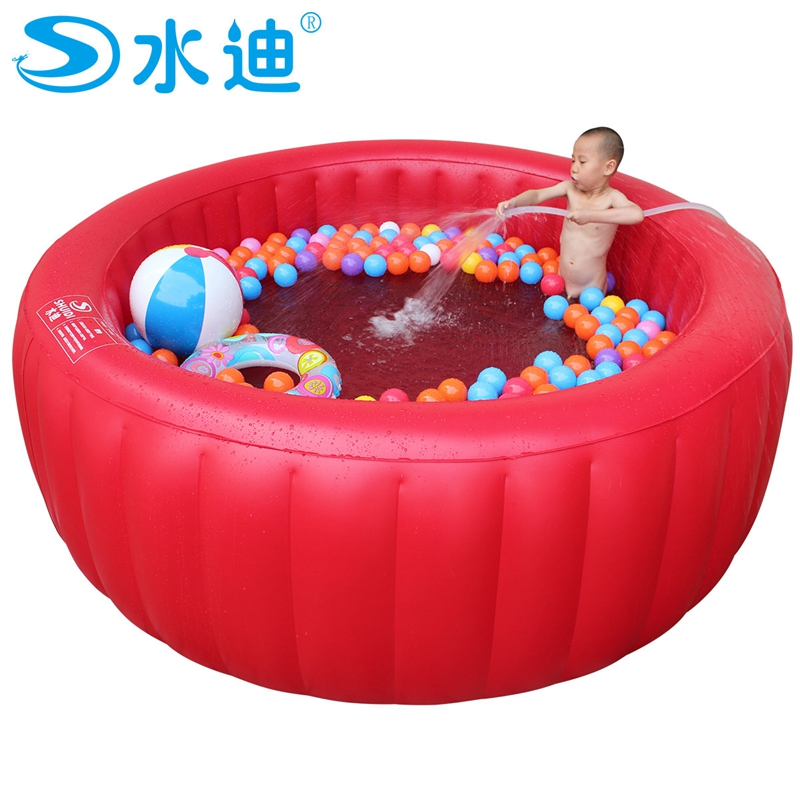Large red round Swimming Pool with pump children tub Portable Inflatable family adult kid Bath Tub 200cm x 80cm high quality character newborn swimming pool children inflatable round bath tub free insulation