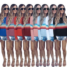 Women's Color Block Stripe T-Shirt Rainbow O Neck Long Sleeve Basic TShirt Top Casual Tops Ladies Black White T-Shirt XXL(China)