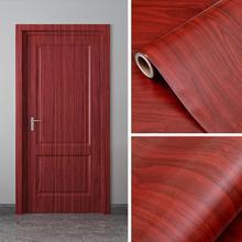 Etiqueta engomada gruesa de la puerta del grano de madera de 90cm x 210 cm, papel pintado autoadhesivo de la tabla del gabinete del dormitorio de la pasta de los muebles