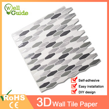 Wall paper 3D Black Grey Marble Brick Self-Adhesive Stickers Waterproof DIY Kitchen Bathroom Home Decal Sticker Vinyl