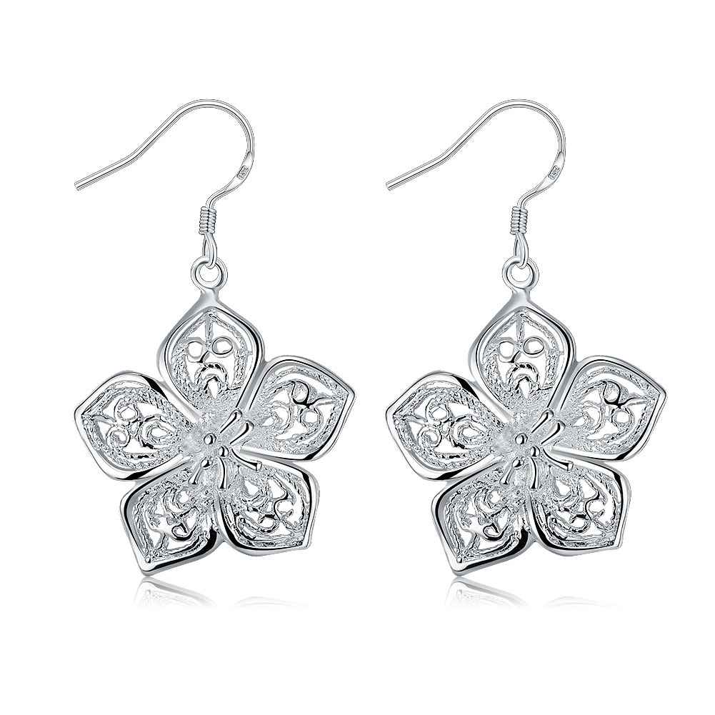 Wholesale High Quality Jewelry font b Silver b font Plated Fashion Flower font b Earrings b