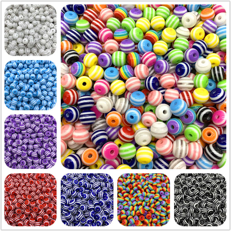 6mm 8mm 10mm Resin Spacer Beads Round Beads Stripe Spacer Beads For Jewelry Making DIY Bracelet Necklace Accessories