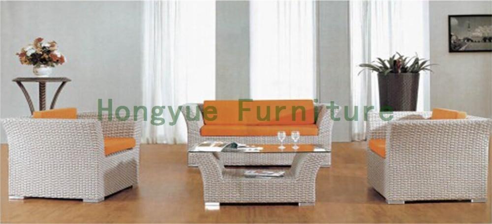 Iron frame living room rattan sofa furniture set 4 pcs pastoralism home indoor outdoor rattan sofa for living room
