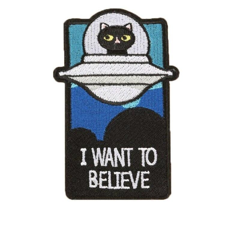 add613d1b740d5 Beste Koop 1 PIC 2.8 4.33 INCH UFO Kat IK wil Geloven Cartoon Borduurwerk  Terug Adhesive Seal Patch Kleding Accessoires DIY Goedkoop