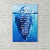 1 Piece printed Painting Abstract Art Success Hard Work Persistence Quote Success Is An Iceberg Framed Wall Art Canvas