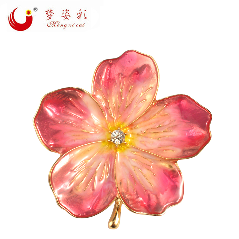MZC 2017 New Lucky Pink Enamel Flower Brooches Female Hijab Pin Corsage Broach for Women Wedding