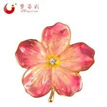 Женская Брошь корсаж mzc розовый эмалированный цветок в стиле