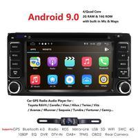 2 Din Android 9.0 2G RAM Car dvd player for Toyota corolla RAV4 Vios Tundra Camry navigation Bluetooth Wifi Mirror link Camera