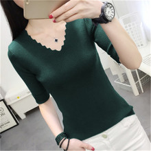 RZIV Spring long sleeve hollow women pullovers top big stretch slim knitted sweater