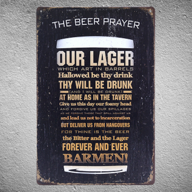 US $7.12 10% OFF|Free shipping funny beer quote metal sign creative Beer  glass wall art metal painting coffee bar retro Decor , 30x20cm-in Plaques &  ...