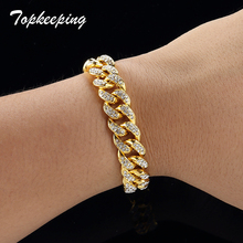 88beec01f880 Pulseras de moda de diamantes de imitación de lujo para hombre brazaletes  Unisex de alta calidad de Color dorado con hielo Miami.