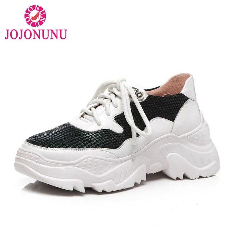 JOJONUNU plate-forme baskets femmes en cuir véritable Air Mesh Bling chaussures décontractées femmes à lacets amortissantes compensées baskets taille 34-39