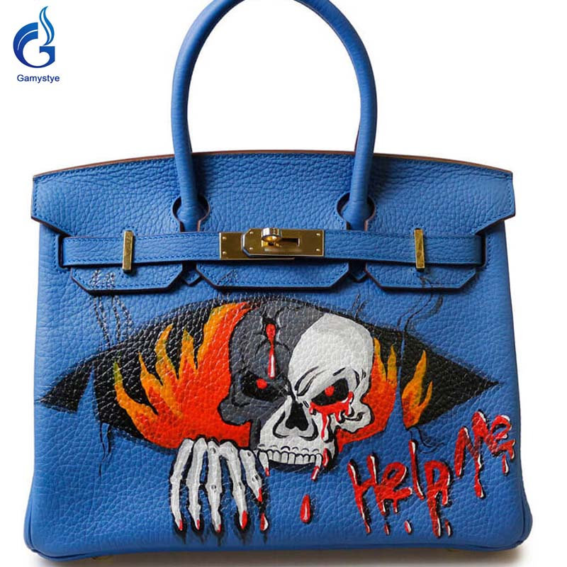 Help me terror GAMYSTYE brand 2016 Women Genuine Leather Handbag Messenger Bags Hand Painted art bags Custom Design tote YG