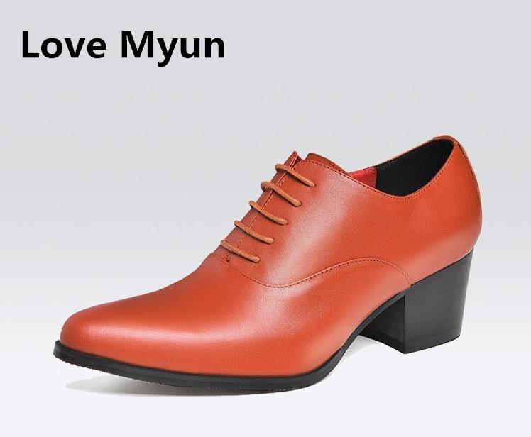 Nowe męskie szpiczasty nosek lace up wysokie obcasy moda oxford buty biały brązowy czarny buty ślubne buty mężczyzn wysokość zwiększenie męskie buty w Buty wizytowe od Buty na  Grupa 1