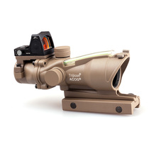 Estilo táctico Trijicon ACOG 4X32 Fibra Óptica Tan Real Verde Iluminado Scope w/RMR ON/OFF interruptor de Punto Rojo