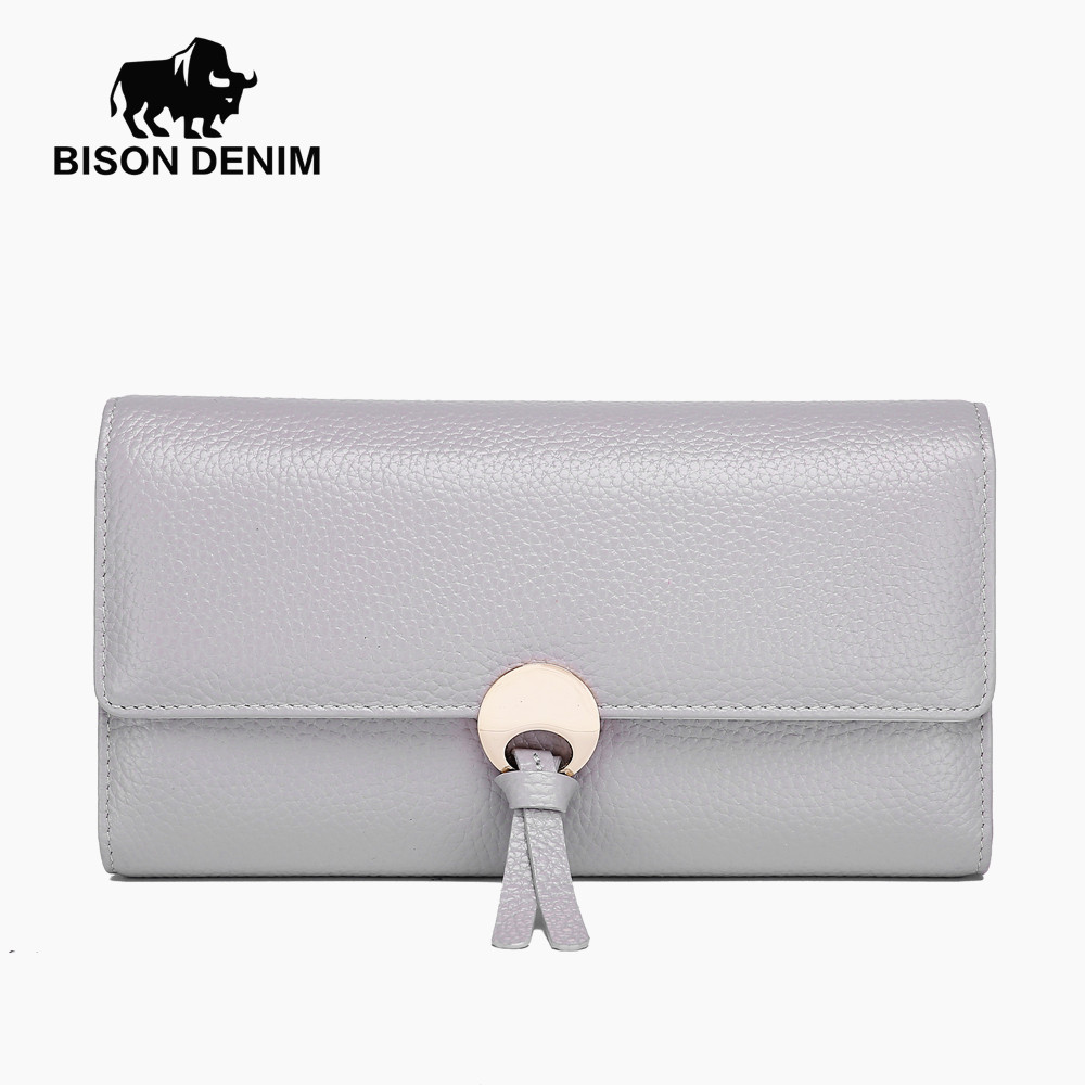 BISON DENIM Women Wallets High Quality Genuine Leather Purses For Women Female Hasp Fashion Lady Card Holder Money Wallet N3247 casual weaving design card holder handbag hasp wallet for women