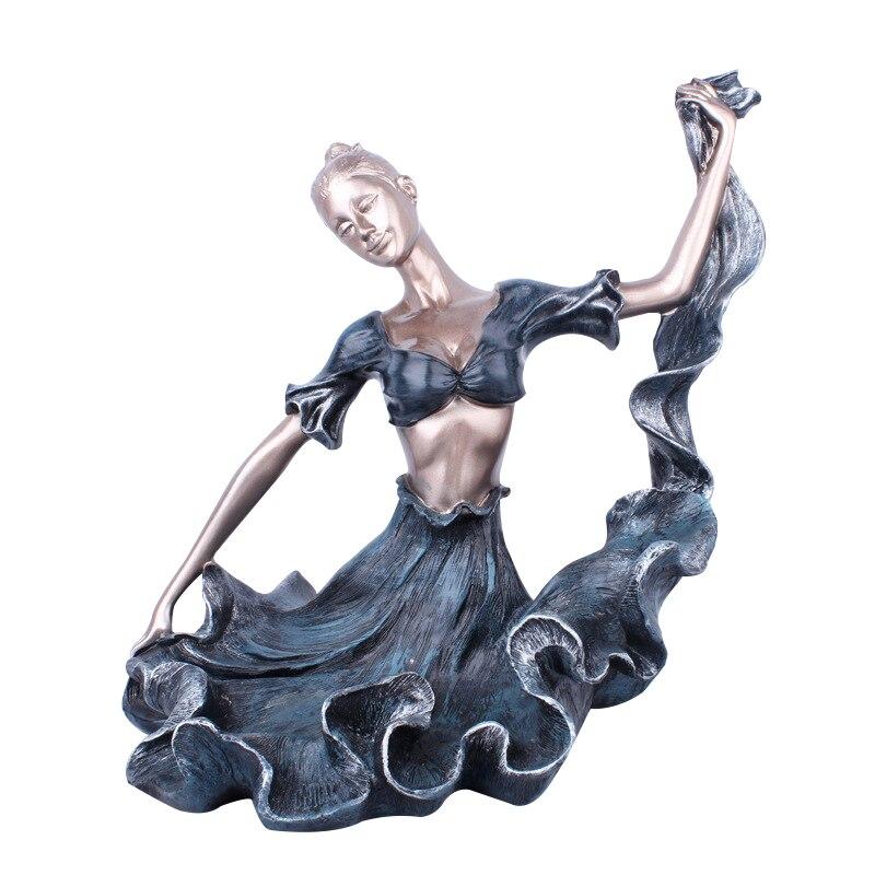 Support de bouteille de vin Europe bleu longue jupe fille porte-vin ornement présentoir cuisine Bar décoration de la maison résine fille Figurines cadeaux