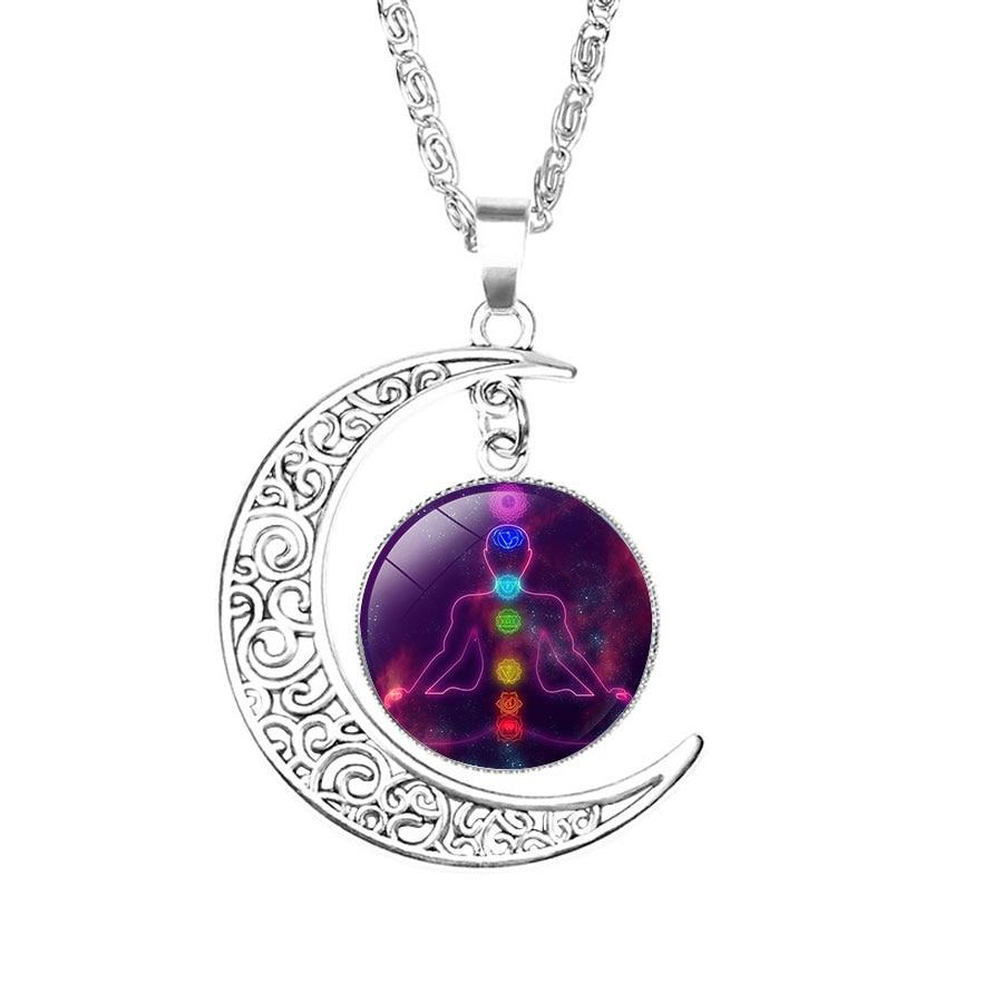 NingXiang Women Religious Ornaments Yoga Seven Chakras Reiki Healing Spiritual Moon Choke Necklace Silver Color Chain Necklace