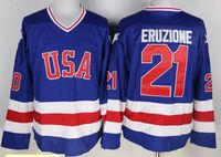 Blue Hockey Jersey Vintage 1980 Miracle On Ice Team USA Mike Eruzione 21 Hockey Jersey Sport