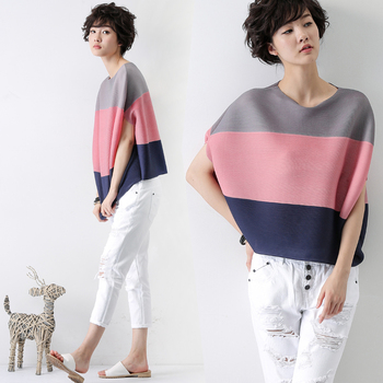 pleated t-shirt female color block decoration loose short-sleeve top free shipping
