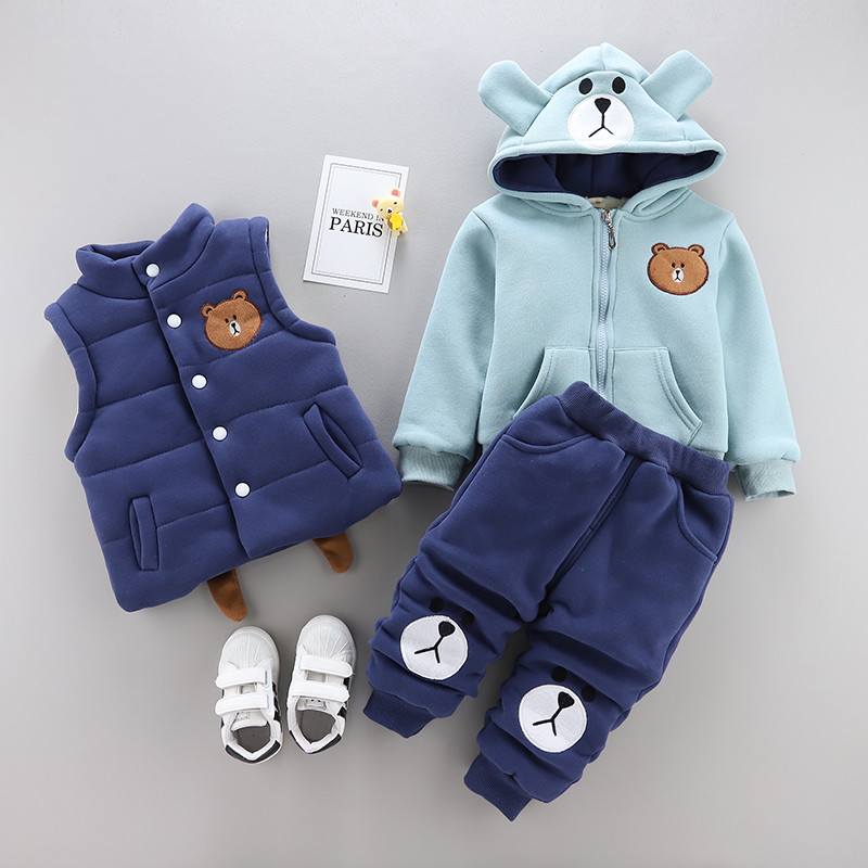 0 4 years winter boy girl clothing set 2018 new casual fashion warm thicken kid suit children baby clothing vest+coat+pant 3pcs -in Clothing Sets from Mother & Kids