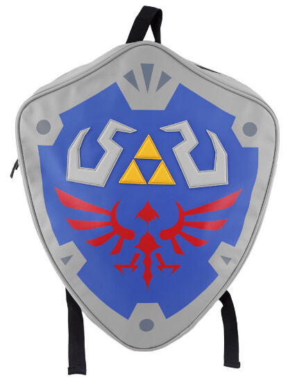 Blue The Legend of Zelda Skyward Sword Hylian 3D Shield Shaped Backpack School Bag 48x40x13 cm anime the legend of zelda backpack bag school bag shoulder bag cosplay bag a style