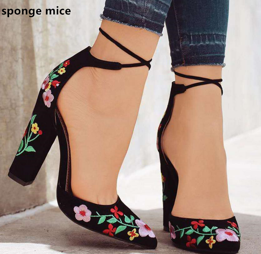 New  Women High Heels Plus Size Embroidery Pumps Flower Ankle Strap Shoes Female Two Piece Sexy Party Wedding Pointed Toe JT-601