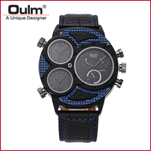 OULM 3594 Wrist Watch Men Quartz Military Fashion Leather Sport 3 Dial Time Famous Brand Men Sport Analog Wristwatch