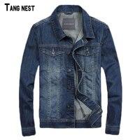 TANGNEST Men Denim Jackets New Spring Style Men S Casual Thin Jacket Jeans Denim Blue Solid