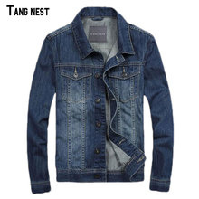 TANGNEST Men Denim Jackets New Spring Style Men's Casual Thin Jacket Jeans Denim Blue Solid Coat S-3XL MWJ2320