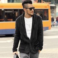 Men Winter Solid Cashmere Fashion Warm Thick Cardigan Metrosexual Men New Slim Brand Design European Style