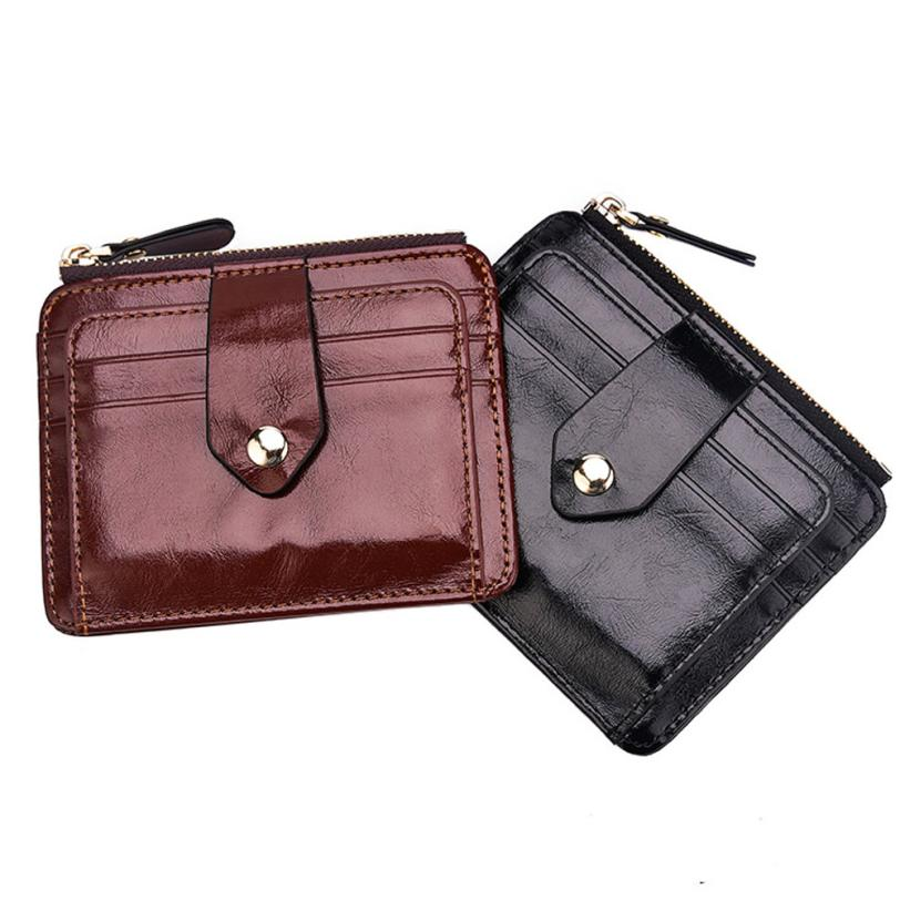 Men Blocking Short Leather Wallet Card Holder Purse With Coin Pocket Mini bag convenient  August 3