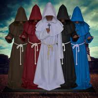 Disfraz de monje Medieval de Halloween disfraz de Cosplay Con cómic traje Con capucha capa fraile cura renacentista para hombres