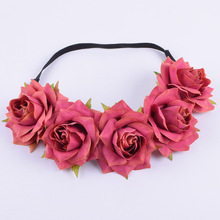 CXADDITIONS Fabric Rose Flower Headband Headwrap Easter Crown Hair Accessories Bands Floral Wreath Wedding Girl