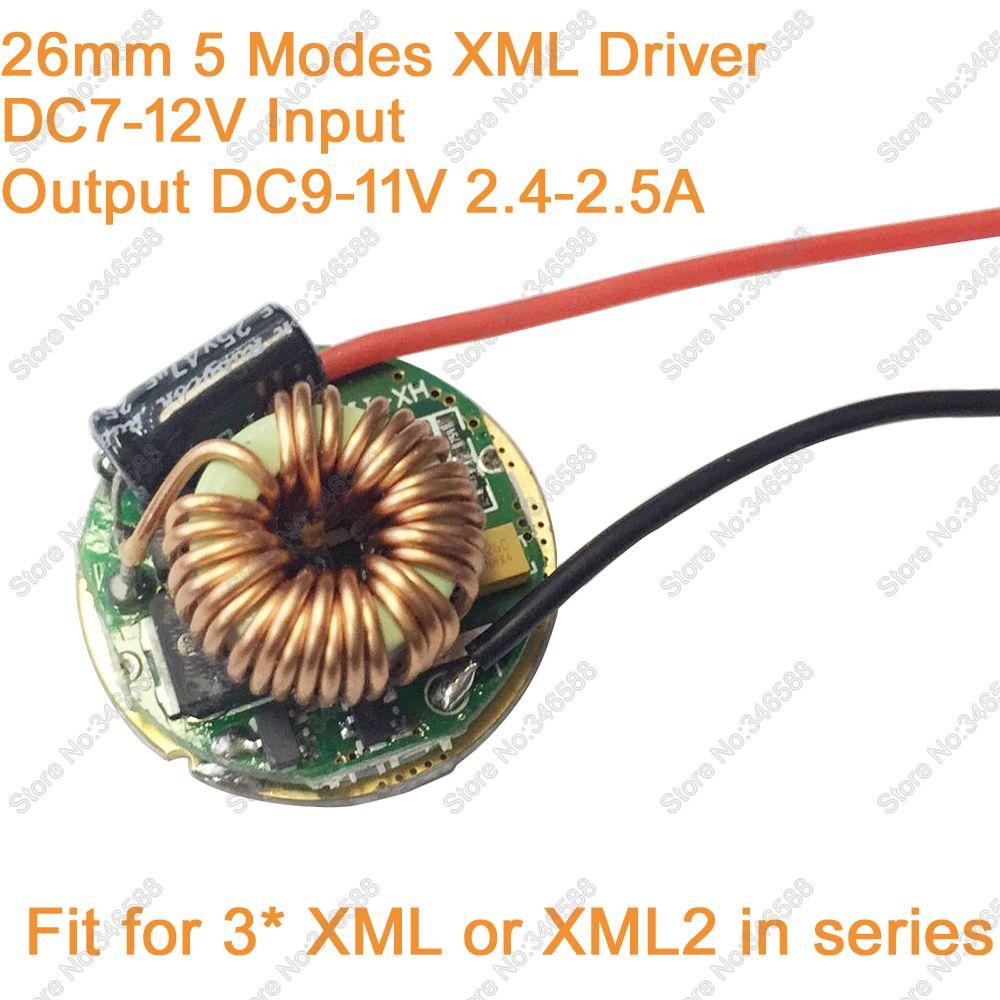 5 Modes 26mm LED Conducteur Transformateur D'éclairage 12 V Entrée (DC7-12V) Sortie DC9-11V 2.4-2.5A Pour 3 pièces Cree XM-L XML XM-L2 en Série