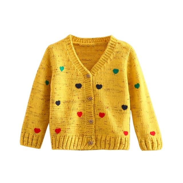 LittleSpring 2017 New Girls Cardigan Spring/Autumn Fashion Heart Print V-Neck Knitted Sweater Kids Girls Knitting Cardigan Coat