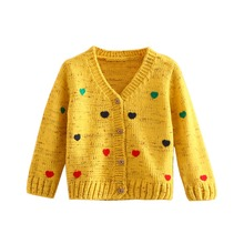 LittleSpring 2017 New Girls Cardigan Spring/Autumn Fashion Heart Print V-Neck Knitted Sweater Kids Girls Knitting Cardigan Coat