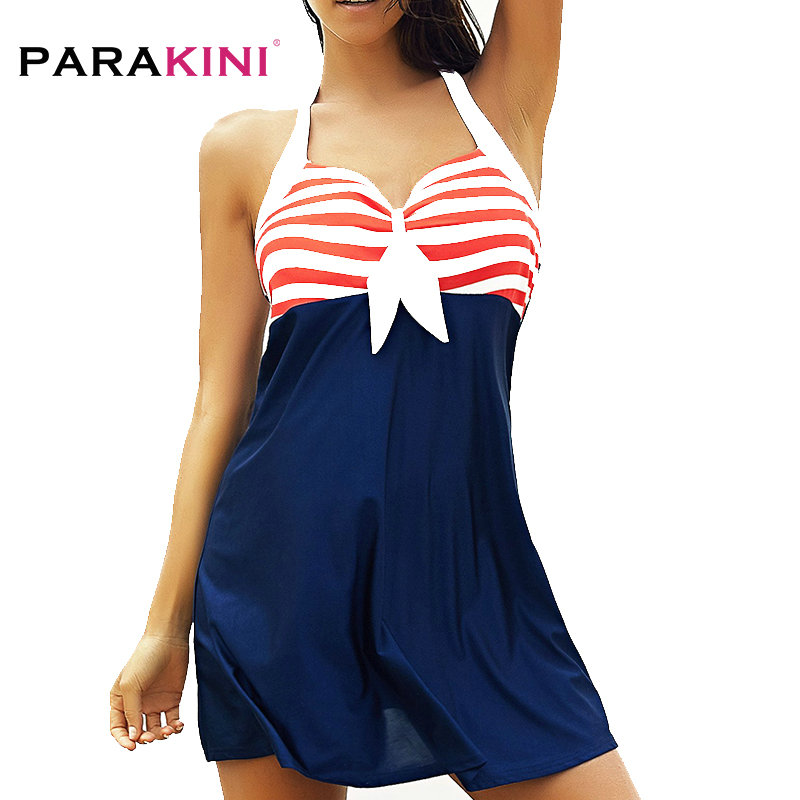 PARAKINI 2018 New Sexy Stripe Padded Halter Skirt Swimwear Women One Piece Swimsuit Beachwear Bathing Suit Dress Plus Size M-3XL lace up halter padded plus size bathing suit