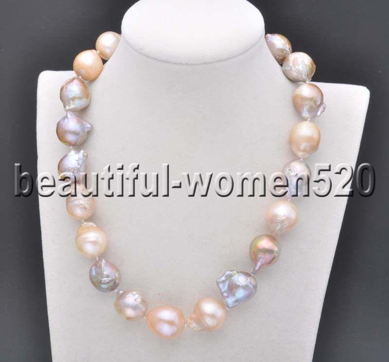 Z7707 grand 20mm rose lavande presque ronde Keshi Reborn collier de perles 17 poucesZ7707 grand 20mm rose lavande presque ronde Keshi Reborn collier de perles 17 pouces