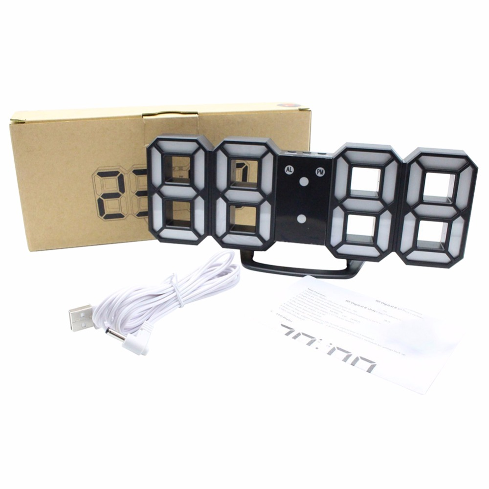 Modern 3D LED Digital Clock Table Clock Watches 24 or 12-Hour Display Alarm Snooze Alarm Clock For Home Room Decal Gift