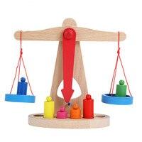 Новый Монтессори развивающая игрушка маленький деревянный Новый Баланс весы игрушка с 6 весов для детей