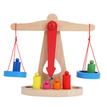 New Montessori Educational Toy Small Wooden New Balance Scale Toy With 6 Weights For Kids baby