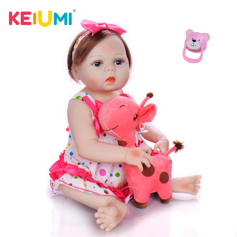 "Brasil armazém 23 ""57 cm Realista Vinil Silicone Boneca Reborn Completo Bebê Menina Dolls For Kids Aniversário Xmas dom de Fibra de Cabelo"