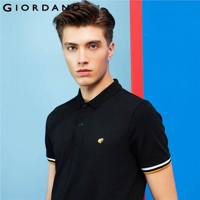 Giordano Men Polo Embroidery Shirt Short Sleeves Tops Turn-down Collar Polo Brand Clothing Male Fashion Casual Polo