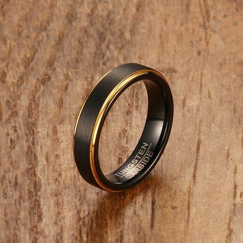 Mprainbow Mens Rings Tungsten Steel Black Gold Color
