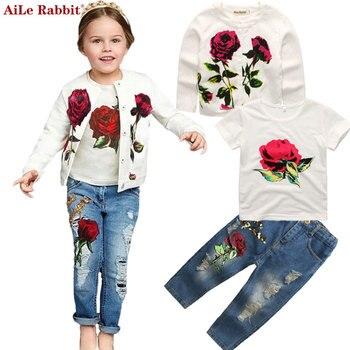 AiLe Rabbit/Осенняя новая одежда для девочек, костюм, куртка футболка, джинсы комплект из 3 предметов, модный розовый кардиган, топ, Детское пальто...